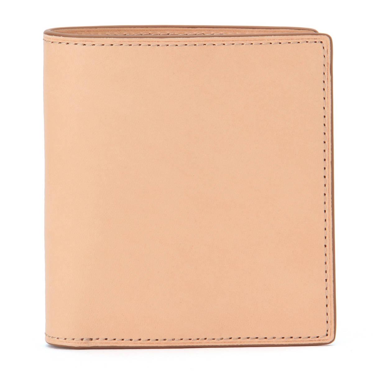 新品 無印良品 MUJI イタリア産 ヌメ革 二つ折り 財布 正規品 生成 ベージュ ウォレット