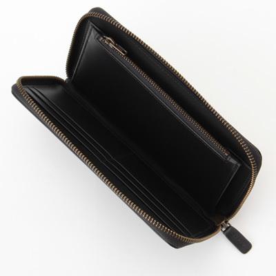 新品 無印良品 MUJI イタリア産 ヌメ革 ラウンドファスナー 長財布 ブラック 黒 正規品_画像2