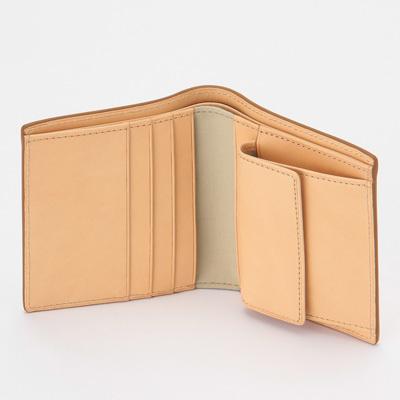 新品 無印良品 MUJI イタリア産 ヌメ革 二つ折り 財布 正規品 生成 ベージュ ウォレット_画像2