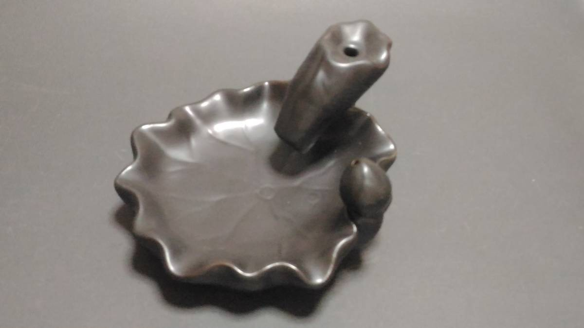 陶器製 香皿 + ベトナム産沈香 コーン型お香10個セット ①_画像1