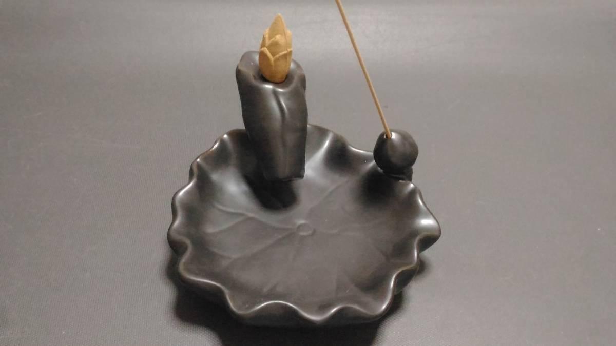 陶器製 香皿 + ベトナム産沈香 コーン型お香10個セット ①_画像4