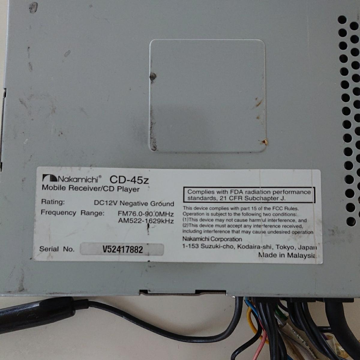 Nakamichiナカミチ カーオーディオ CD Player CD-45z 完動品_画像5