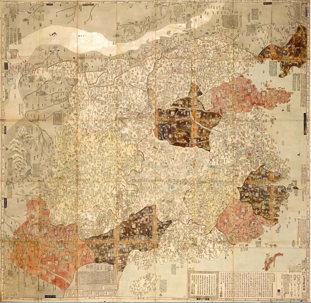 珍藏 古美術 時代物 古地図 【大清広輿図】旧藏 ・手巻・本国発送