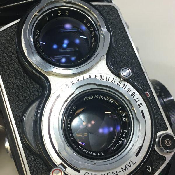 M504-35/SY3000 ミノルタ MINOLTA オートコードⅢ AUTOCORD ROKKOR 1:3.5 f=75mm 《ケース付》★中古カメラ ニ眼_画像7
