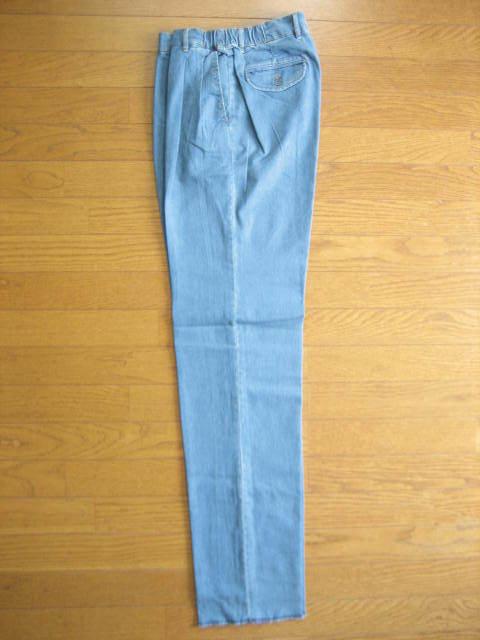 即決新品 ツータック ストレッチ デニム パンツ W67~73 L90 薄青系 / ウェストゴム 裾上げ未 / 40625①-3 / ウェストの実測値が大きめです_画像2