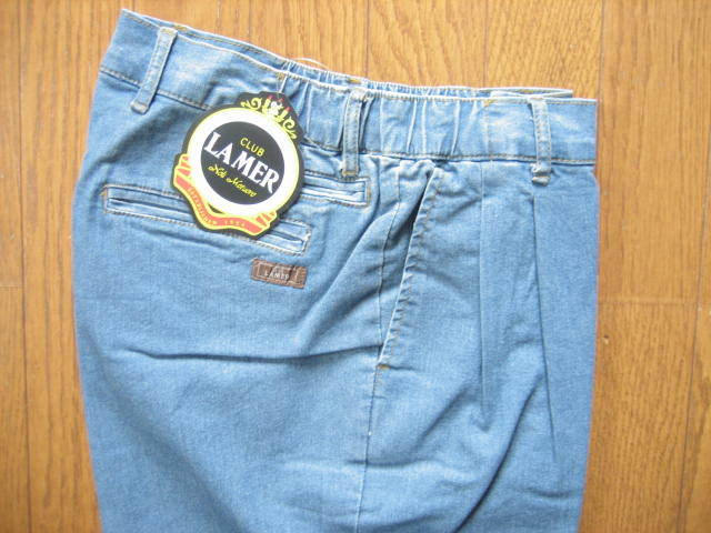 即決新品 ツータック ストレッチ デニム パンツ W67~73 L90 薄青系 / ウェストゴム 裾上げ未 / 40625①-3 / ウェストの実測値が大きめです