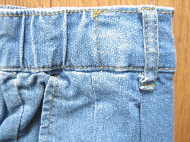 即決新品 ツータック ストレッチ デニム パンツ W67~73 L90 薄青系 / ウェストゴム 裾上げ未 / 40625①-3 / ウェストの実測値が大きめです_画像3