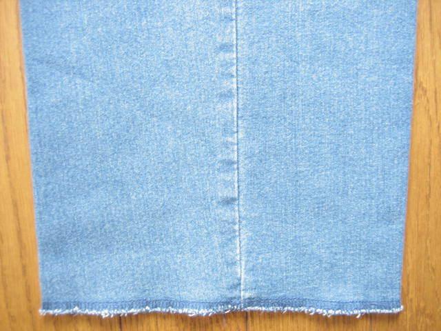 即決新品 ツータック ストレッチ デニム パンツ W67~73 L90 薄青系 / ウェストゴム 裾上げ未 / 40625①-3 / ウェストの実測値が大きめです_画像7