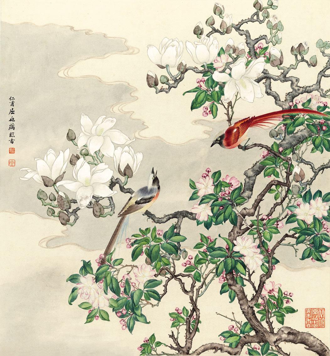 曲兆麟【白玉斗方図】美術品 中国美術 中国書画家 掛軸 掛け軸 希少品 サイズ:52cm X 56cm