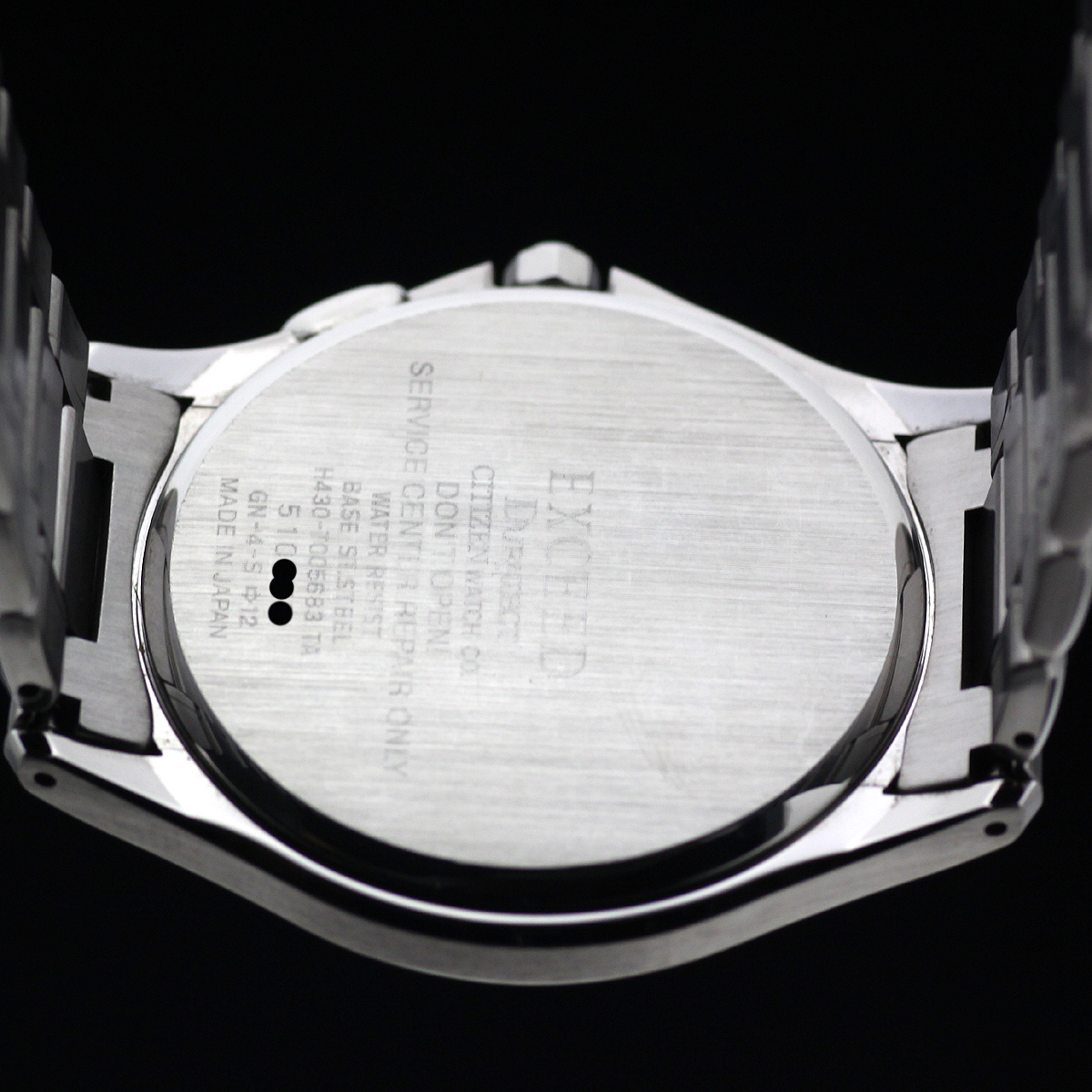 1円~ 美品 薄型 シチズン エクシード EBH74-2172 H430 SS/GP 電波ソーラー シルバー文字盤 メーカー点検済_画像5