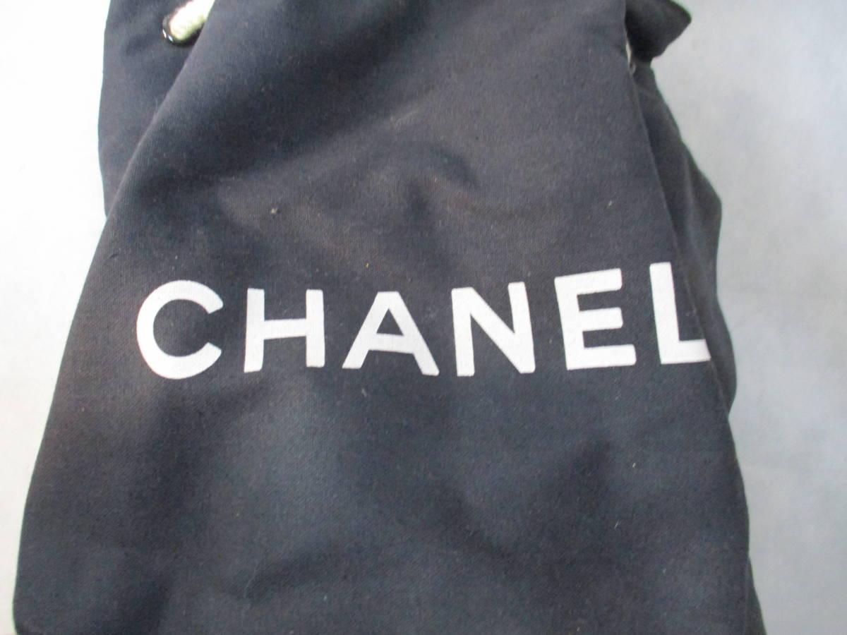 (0405box)CHANEL シャネル 布製バックパック・ワンショルダー 底円形 内部ビニール素材 ユースド 使用感あり_画像9