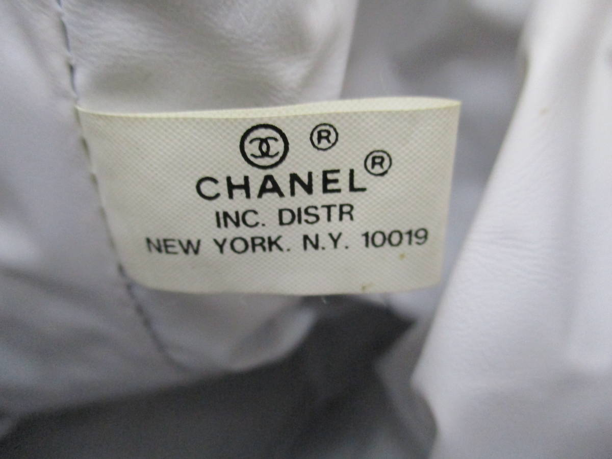 (0405box)CHANEL シャネル 布製バックパック・ワンショルダー 底円形 内部ビニール素材 ユースド 使用感あり_画像7