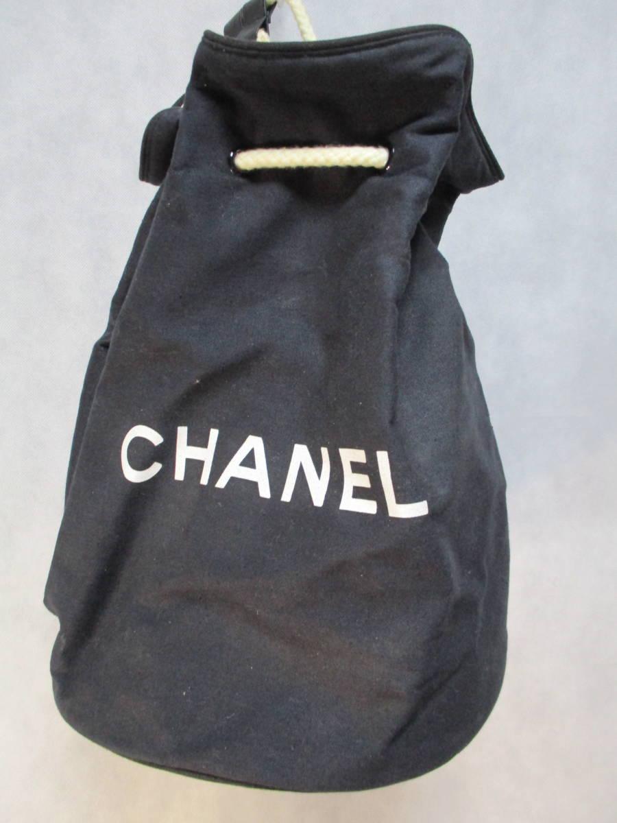(0405box)CHANEL シャネル 布製バックパック・ワンショルダー 底円形 内部ビニール素材 ユースド 使用感あり
