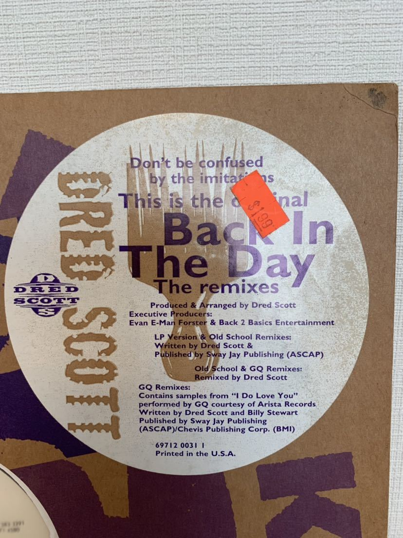 DRED SCOTT / Back In The Day (GQ Remix) テストプレスのみ収録 激レア盤 USオリジナル12""