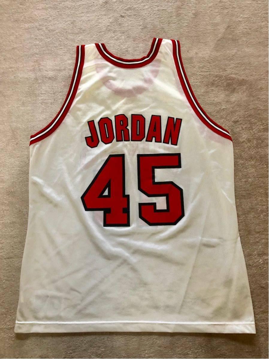 USA製 90s CHAMPION チャンピオン NBA CHICAGO BULLS シカゴブルズ 背番号 45 JORDAN NIKE マイケルジョーダン 白×赤_画像4