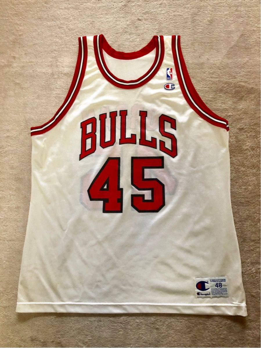 USA製 90s CHAMPION チャンピオン NBA CHICAGO BULLS シカゴブルズ 背番号 45 JORDAN NIKE マイケルジョーダン 白×赤