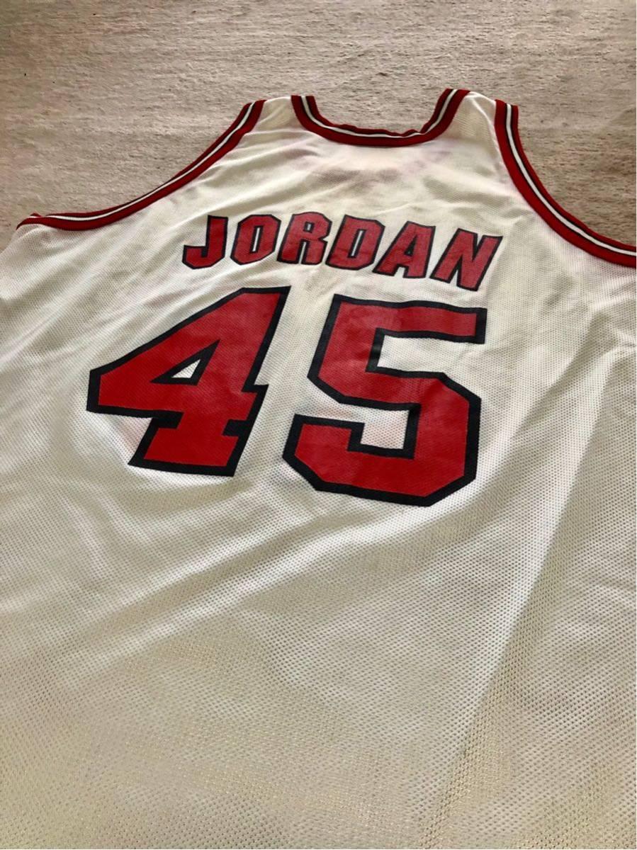 USA製 90s CHAMPION チャンピオン NBA CHICAGO BULLS シカゴブルズ 背番号 45 JORDAN NIKE マイケルジョーダン 白×赤_画像5