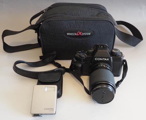 95■CONTAX コンタックス ST +Carl Zeiss Sonnar 2.8/90 T*レンズ/ストロボ/美品 ジャンク扱い