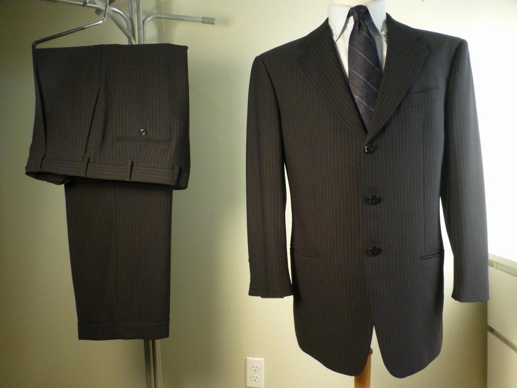 ◆ARMANI アルマーニ スーツ 170やや恰幅良 美品 グレーストライプ_画像1
