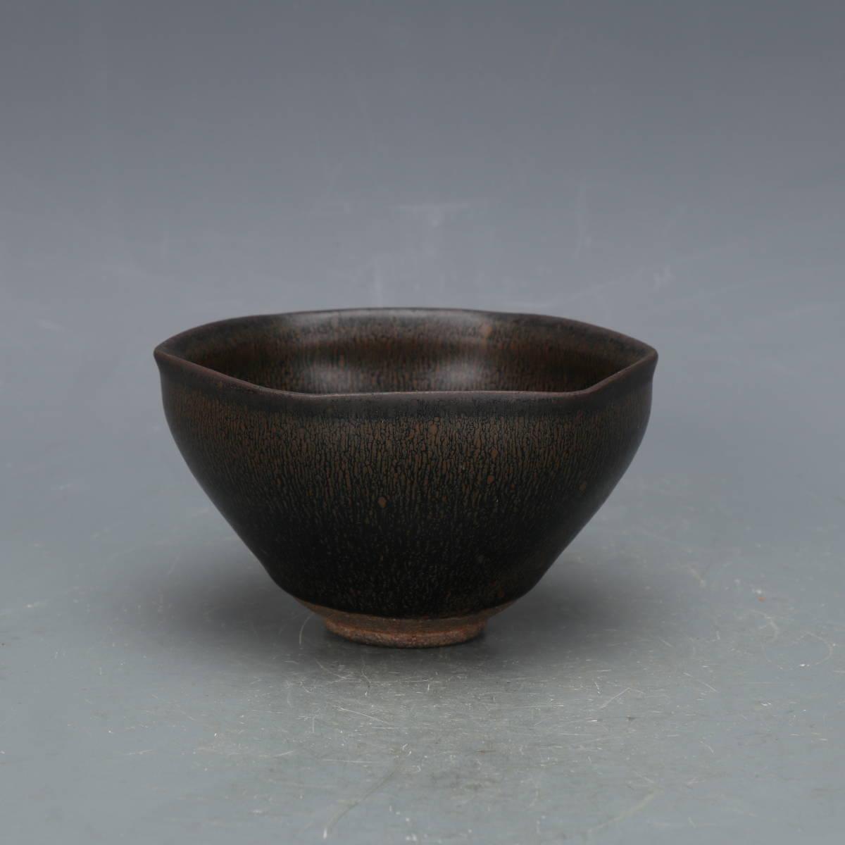 【1904CCD1173】中国古董品 宋時代 建窯六方兔盞 擺件 手彫 精美彫 秀作 古皿 置物 中國