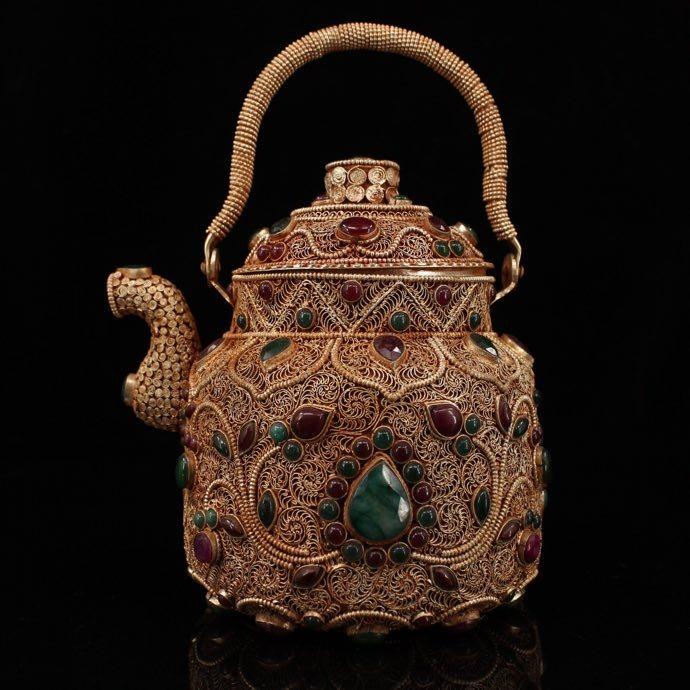 【1904SDW2736】中国古董品 中國西藏收集 絲嵌寶石 銀流金 茶壺 擺件 精美彫 中国古美術
