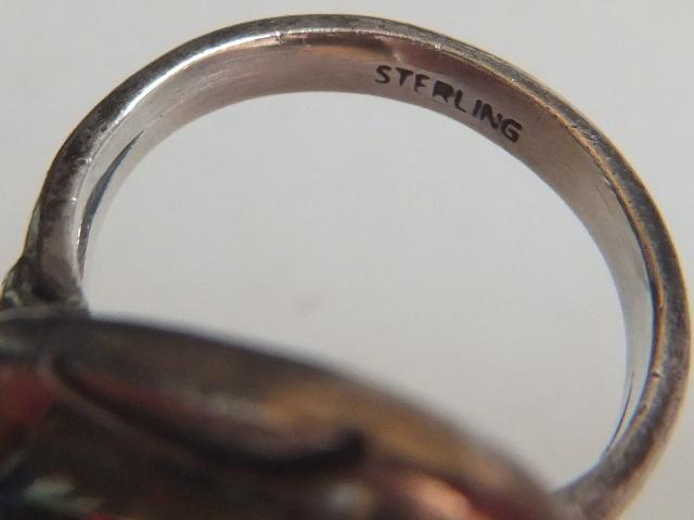 ビンテージ スターリングシルバー ストーン 石付き リング STERLING刻印あり ネイティブ 17号 11.42グラム 指輪★0419T04_画像6