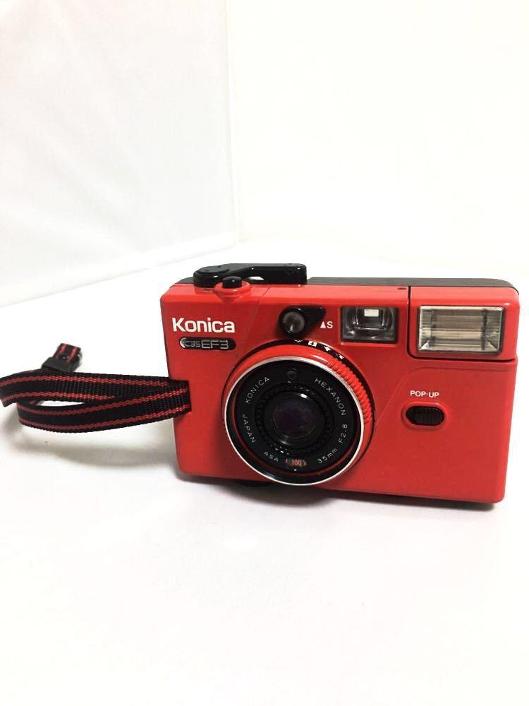 ジャンク品 konica コニカ C35 EF3 レッド コンパクトフィルムカメラ