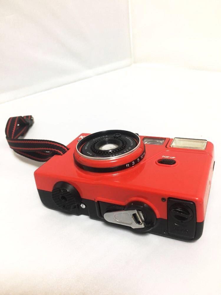 ジャンク品 konica コニカ C35 EF3 レッド コンパクトフィルムカメラ_画像3