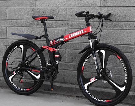 ファットバイク マウンテンバイク 折りたたみ 自転車 太いタイヤ 21段変速 26インチ ブラック_画像4