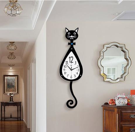 猫 柱時計 新作 人気 可愛い 新品 壁掛け時計 多機能 おしゃれ