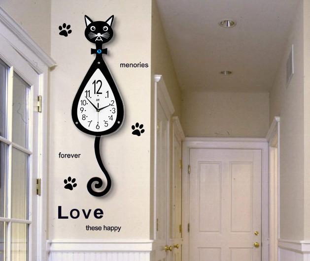 猫 柱時計 新作 人気 可愛い 新品 壁掛け時計 多機能 おしゃれ_画像3