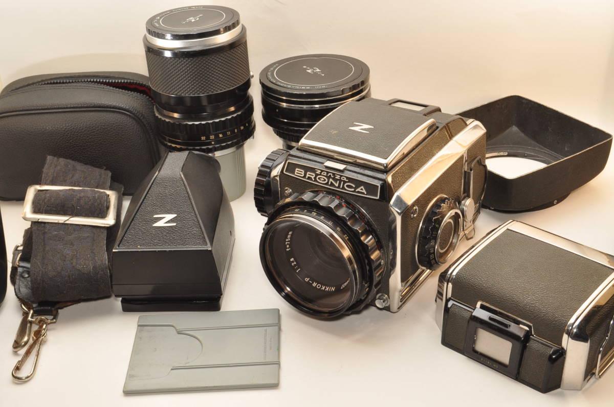 ゼンザブロニカZenza BRONICA S2 前期 レンズ3本 日本光学 75mm 5cm 200mm プリズムファインダー フィルムホルダー カビ有り 訳あり品_画像1
