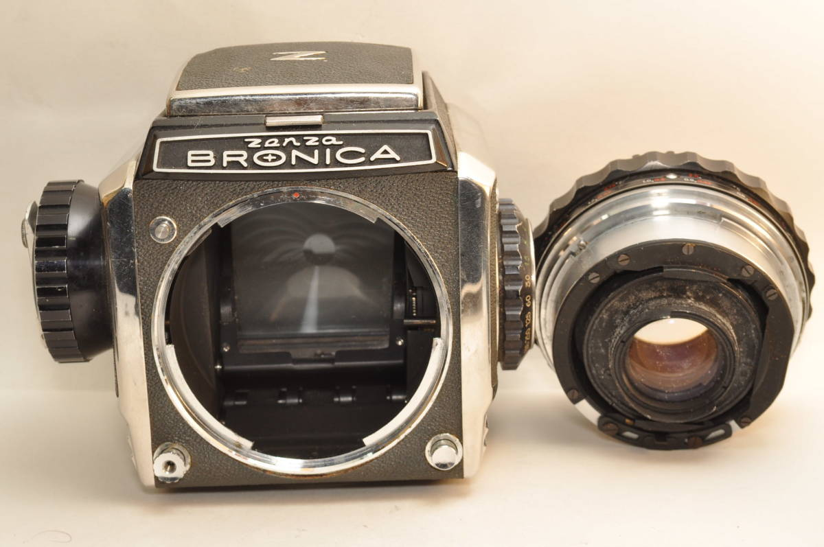 ゼンザブロニカZenza BRONICA S2 前期 レンズ3本 日本光学 75mm 5cm 200mm プリズムファインダー フィルムホルダー カビ有り 訳あり品_画像9