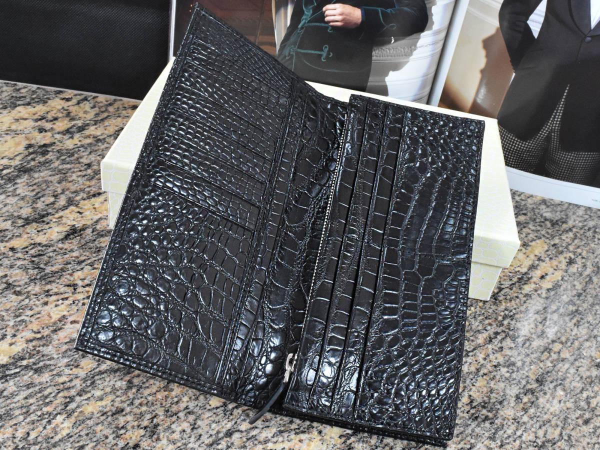 ■新品未使用■高級 美品 クロコダイル 二つ折り財布 レザー ブラック 無双革 腹部 本革 一枚革 メンズ 男性用 長財布 プレゼント_画像8
