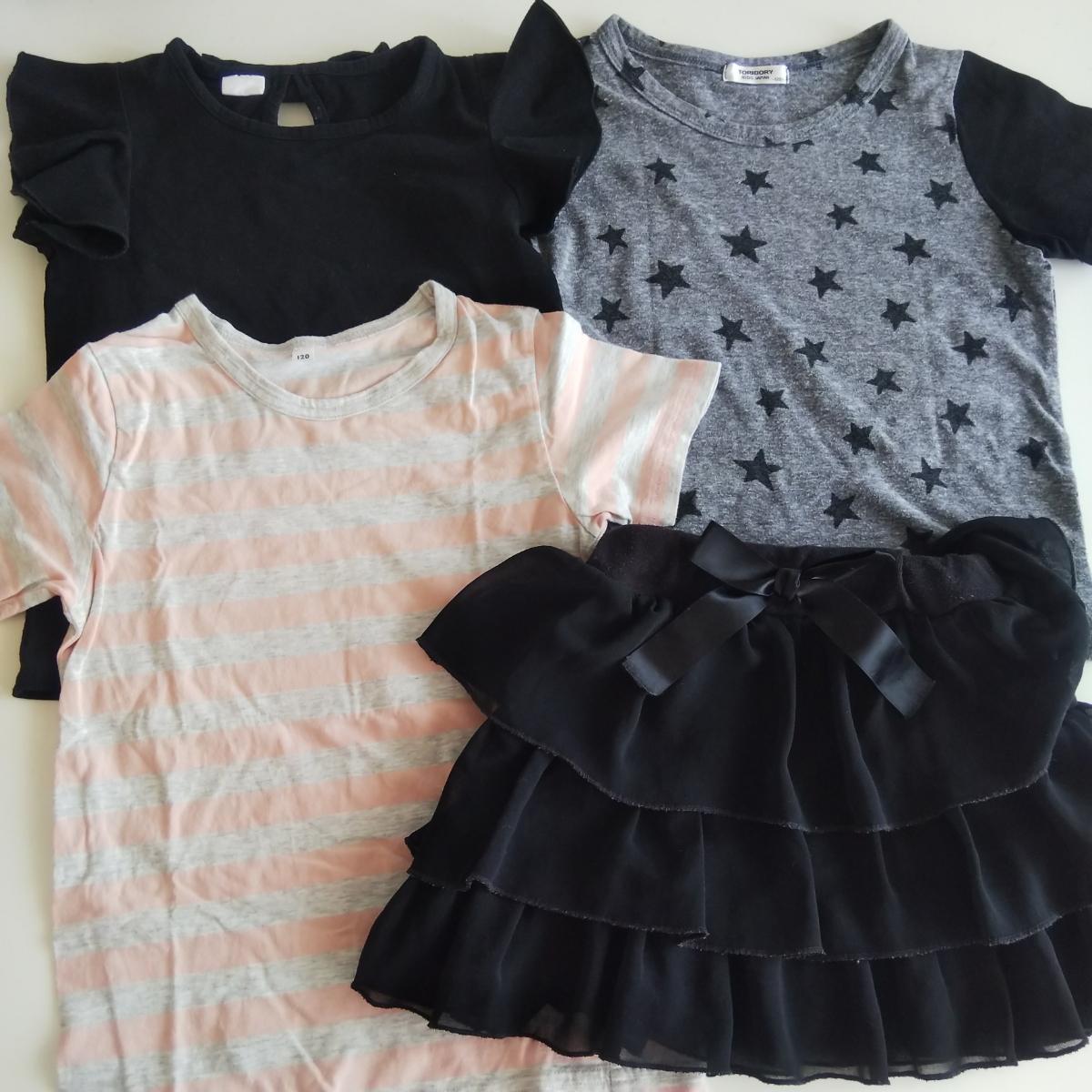 サイズ120 半袖 Tシャツ スカート 4点セット まとめて キッズ 女の子 無印_画像1