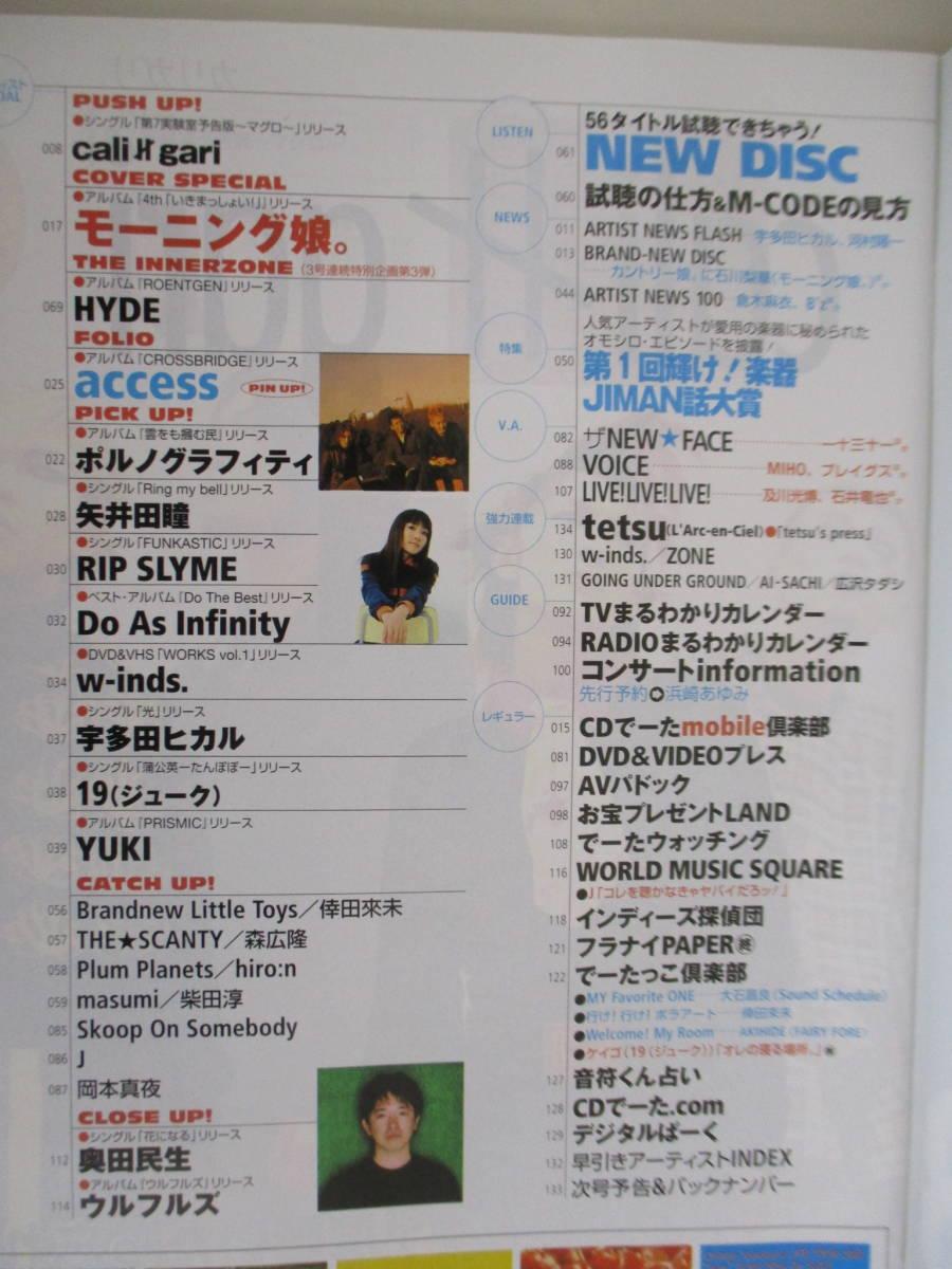 G08 CDでーた 2002年4月5日号 モーニング娘。 HYDE access ポルノグラフィティ 矢井田瞳 RIP SLYME w-inds. 宇多田ヒカル_画像5
