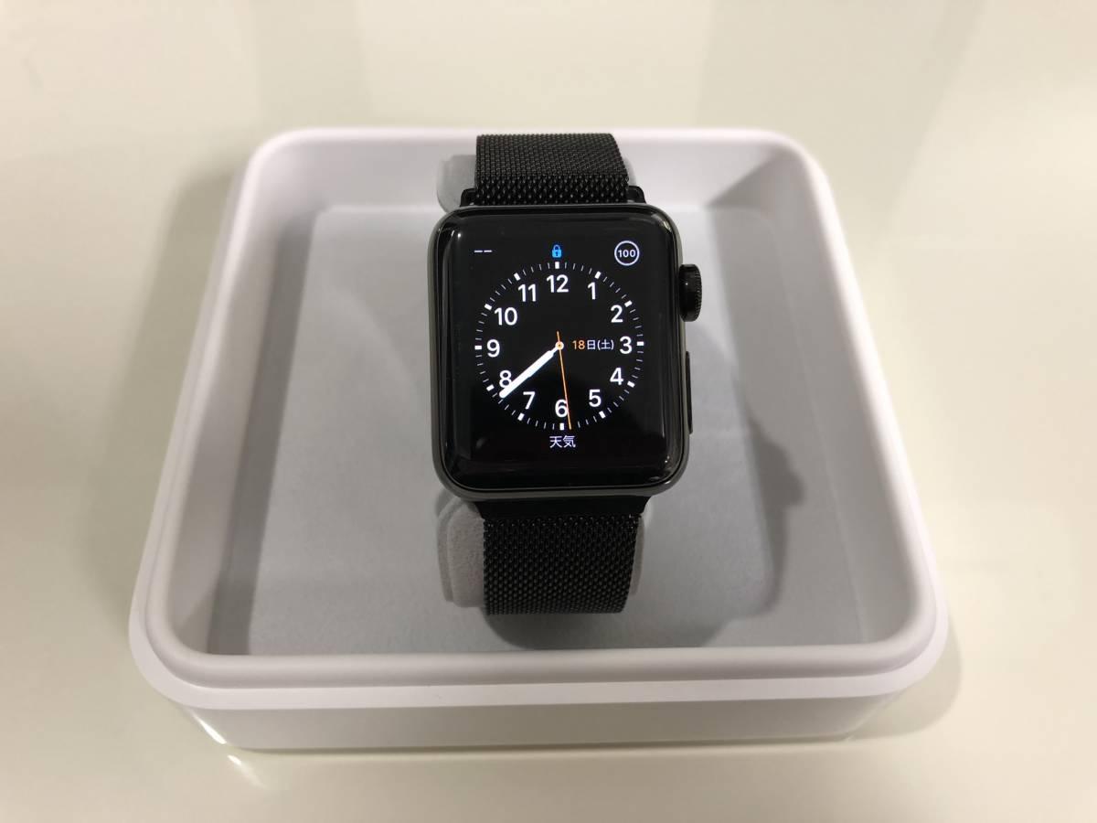 ※美品 Apple Watch Series 2 38mm Space Black 【ステンレススチール】 ※純正バンド欠品(非純正バンドお渡し)