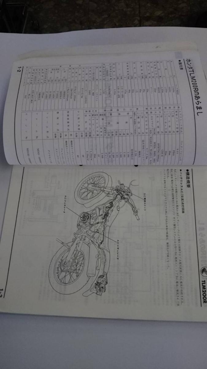 ホンダ TLM200R 正規整備書サービスマニュアル 中古 _画像4