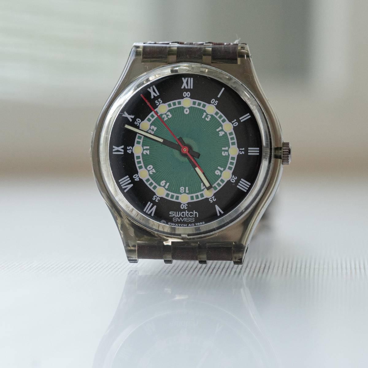 スウォッチ Swatch 純正革ベルトと 蛇腹ベルトのセット 電池交換済_画像2