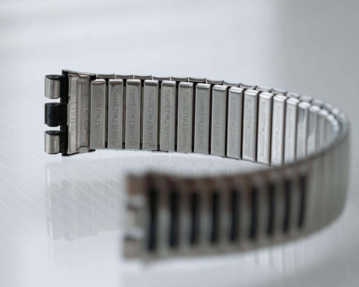 スウォッチ Swatch 純正革ベルトと 蛇腹ベルトのセット 電池交換済_画像8