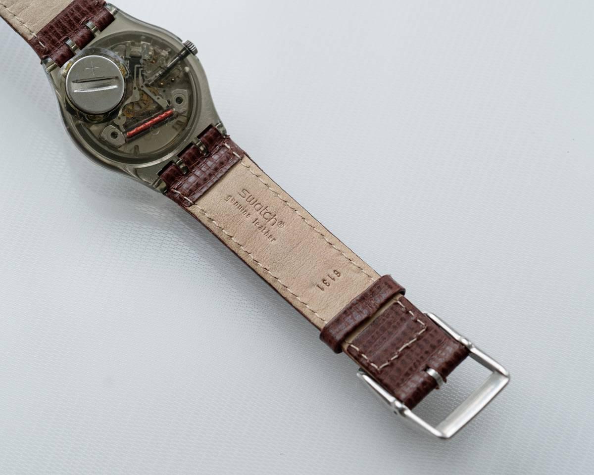 スウォッチ Swatch 純正革ベルトと 蛇腹ベルトのセット 電池交換済_画像6