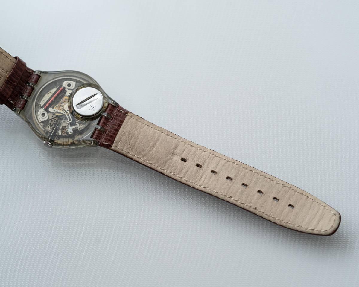 スウォッチ Swatch 純正革ベルトと 蛇腹ベルトのセット 電池交換済_画像5