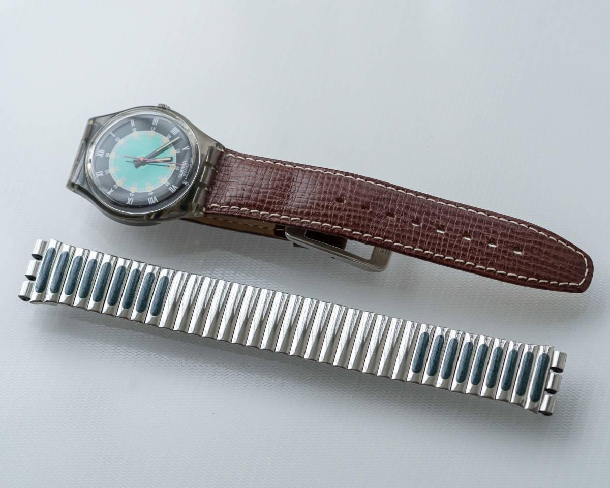 スウォッチ Swatch 純正革ベルトと 蛇腹ベルトのセット 電池交換済