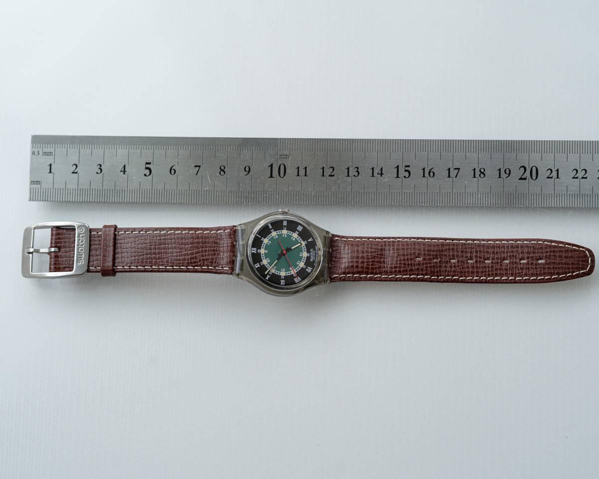 スウォッチ Swatch 純正革ベルトと 蛇腹ベルトのセット 電池交換済_画像4