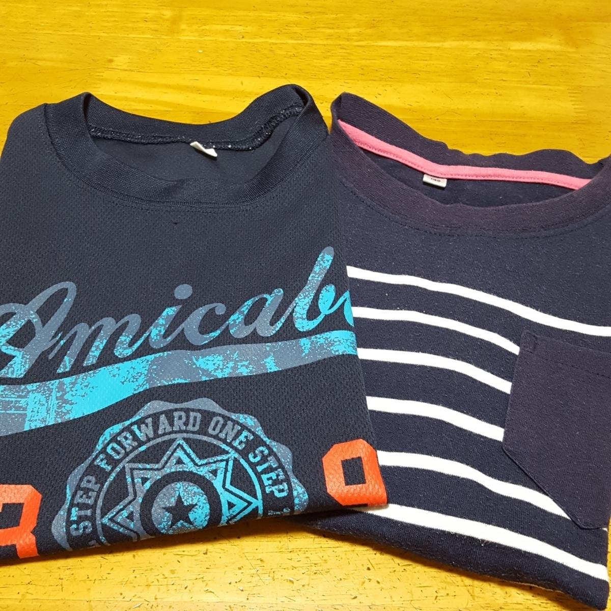 おまけつき 紺色Tシャツ 速乾 サイズ 140 中古 ボーダーTシャツ付き_画像5