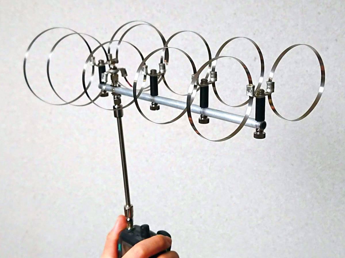ハンディ機直結 1200Mhz用 5エレメント ツインループアンテナ(真鍮同軸管付)No15_画像2