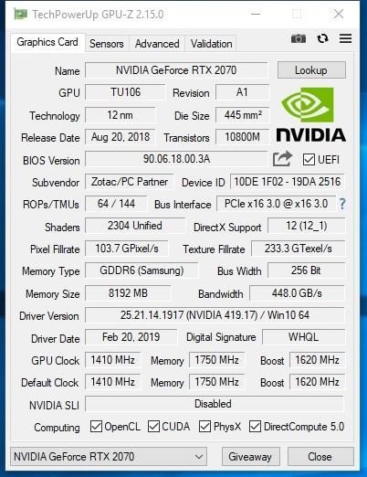 ZOTAC RTX2070 8GB256BIT GDDR6_画像4