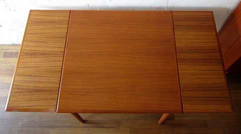 北欧家具 ダイニングテーブル ビンテージ チーク スクエア エクステンションテーブル デンマーク家具 ユーズド家具 拡張 _画像5