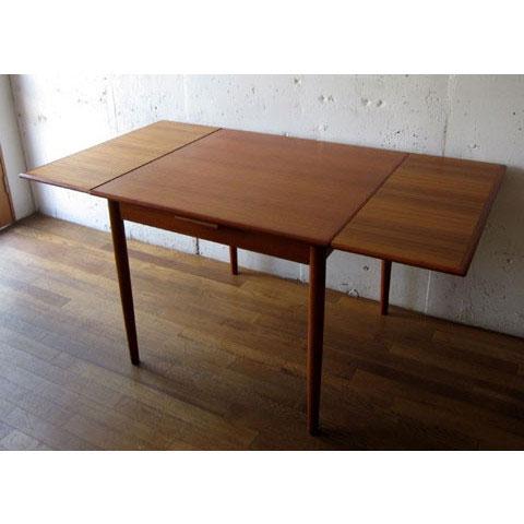 北欧家具 ダイニングテーブル ビンテージ チーク スクエア エクステンションテーブル デンマーク家具 ユーズド家具 拡張 _画像3