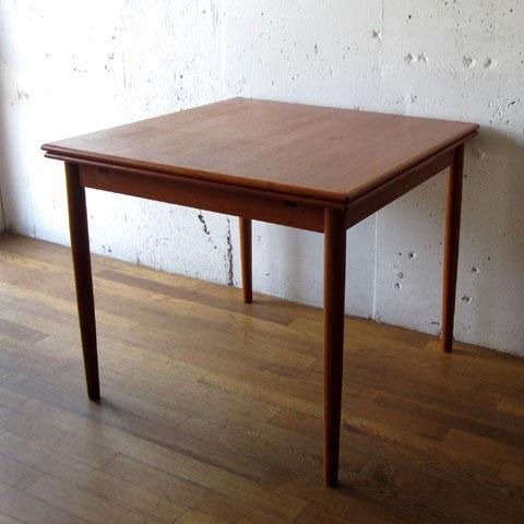 北欧家具 ダイニングテーブル ビンテージ チーク スクエア エクステンションテーブル デンマーク家具 ユーズド家具 拡張